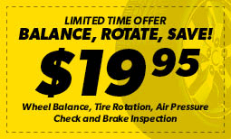 4 on the Floor - $19.95 Wheel Balance, Tire Rotation, Air Pressure Check and Brake Inspection Coupon