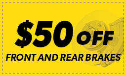$50 Off Front and Rear Brakes Coupon
