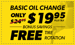 $19.95 Basic Oil Change with FREE Tire Rotation Coupon