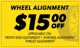 $15.00 Off Wheel Alignment