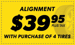 $39.95 Alignmentw/ the Purchase of 4 Tires