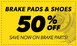 50% Off Brake Pads & Shoes