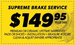 $149.95 Supreme Brake Service Coupon
