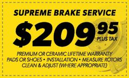 $209.95 Supreme Brake Service Coupon