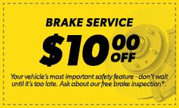 $10.00 Off Brake Service