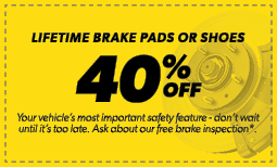 40% Off Lifetime Brake Pads or Shoes Coupon