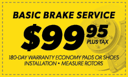 $99.95 Basic Brake Service Coupon