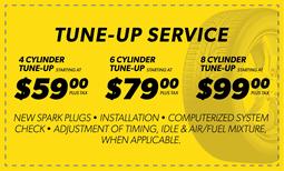 Tune Up Service - $59, $79, $99