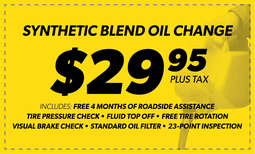$29.95 Synthetic Blend Oil Change