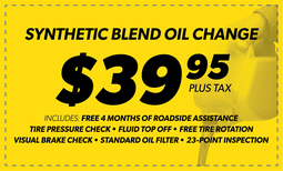 $39.95 Synthetic Blend Oil Change