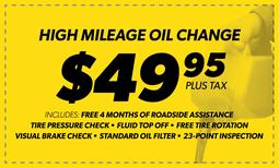 $49.95 High Mileage Blend Oil Change
