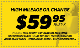 $59.95 High Mileage Blend Oil Change Coupon