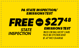 Free PA State Inspection with 27.48 Emissions Test Coupon