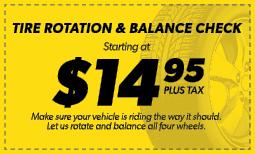 $14.95 Tire Rotation & Balance Check Coupon