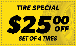 $25 Off the Purchase of 4 Tires Coupon