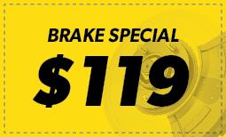 Brake Special: $119 Coupon