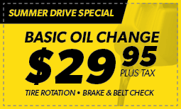 Summer Drive Special: Basic Oil Change $29.95 Coupon