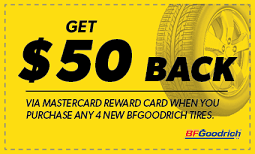 $50 back when you purchase four new BFGoodrich Tires Coupon