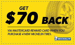 $70 back when you purchase four Michelin tires Coupon