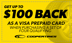 Get up to $100 Back with purchase of four Cooper Tires Coupon