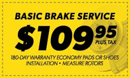 $109.95 Basic Brake Service Coupon