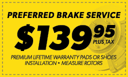 $139.95 Preferred Brake Service Coupon