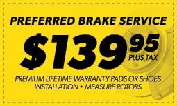 $139.95 Preferred Brake Service Coupon