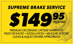$149.95 Supreme Brake Service Coupon