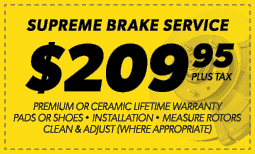 $209.95 Supreme Brake Service Coupon