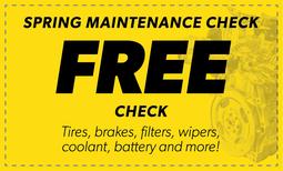 Free Spring Maintenance Check Coupon