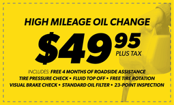 $49.95 High Mileage Blend Oil Change Coupon