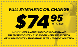$74.95 Full Synthetic Oil Change Coupon