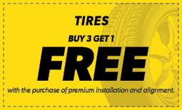 Buy 3 Tires, Get 1 Free Coupon
