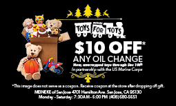 $10 Off Any Oil Change - Toys for Tots Coupon